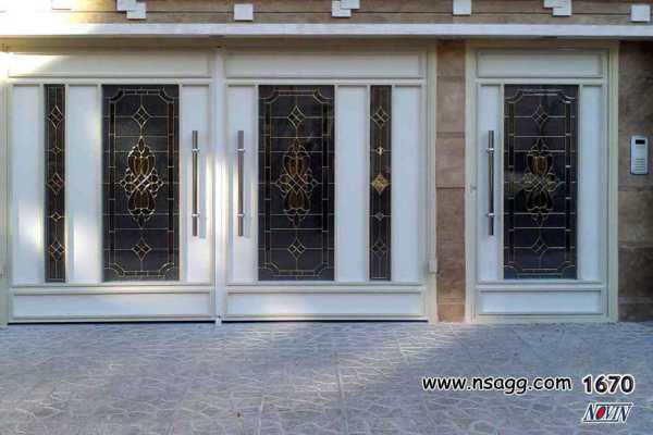 ست درب فلزی ورودی پارکینگ و نفر رو بسیار شیک و به روز با گل ها و کتیبه های منحصر به فرد مناسب برای ورودی ساختمان , حیاط و پارکینگ کد ۱۵۶