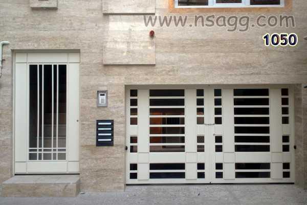 ست درب فلزی ورودی ساختمان یا پارکین و ورودی نفر رو خیلی ساده و زیبا مناسب برای ورودی حیاط , ساختمان و پارکینگ کد ۸۷