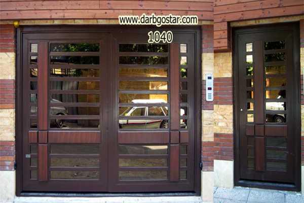 ست درب فلزی ورودی پارکینگ و نفر رو بسیار شیک و زیبا و ساده مناسب برای ورودی حیاط , پارکینیگ و ساختمان کد ۹۲